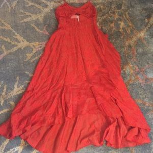 Long red holiday dress